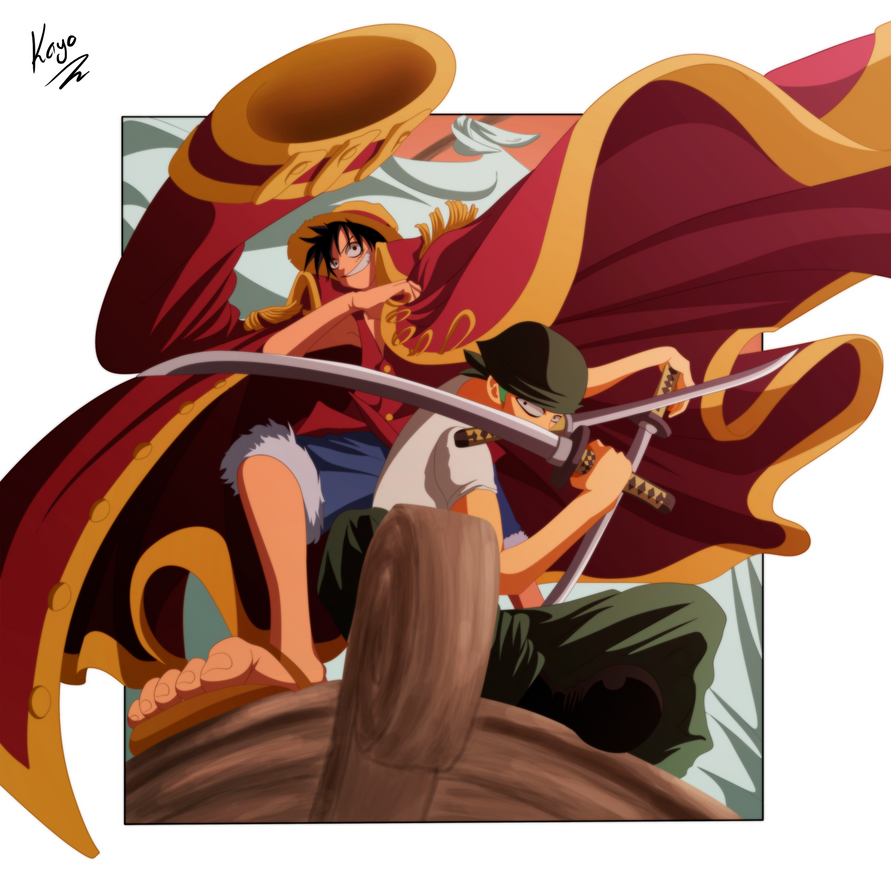 Luffy and Zoro by IKas...