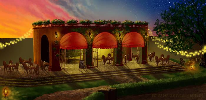 Plaza Cafe concept art by Aerhalev