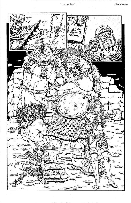 Terraga comic page 6 inked by Ogrebreed
