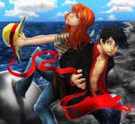 Luffy and Nami Ribbon Two by Zinfer