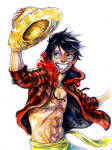 Luffy Watercolor by Zinfer