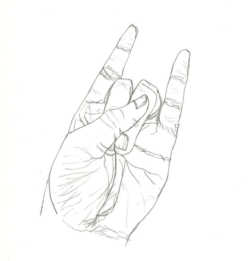 Contour Line Drawing Of A Hand : Contour line hand by rockstarkid on deviantart
