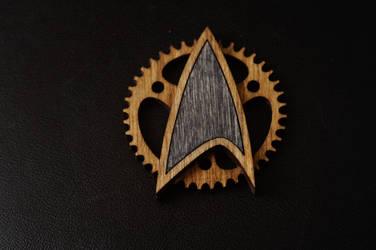 Steampunk Starfleet badge by bassqee