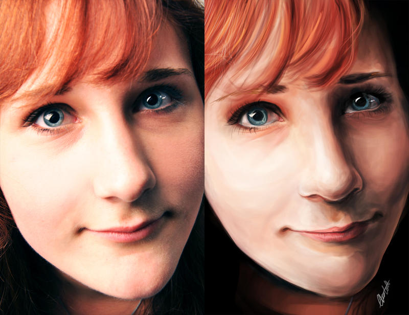 My Digital Painting Comparison to the Original by CharlightArt