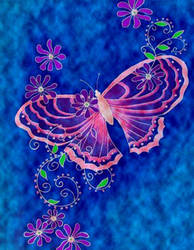 Pink Butterfly on Blue by KRSdeviations