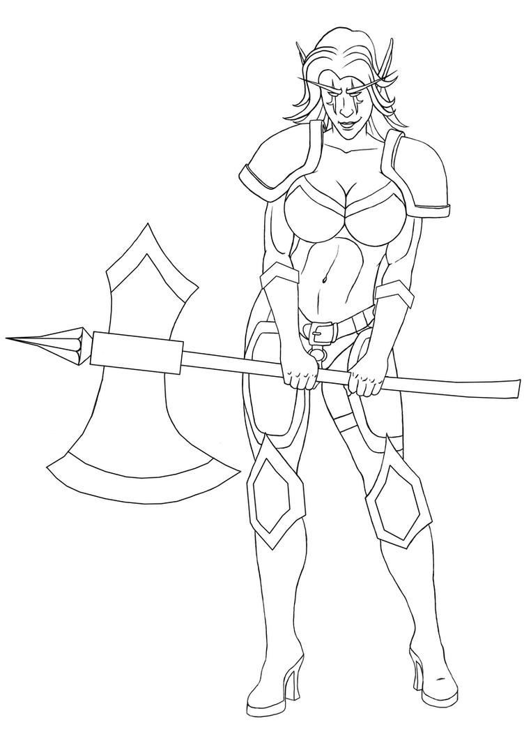 Line Drawings From D Models : Night elf lineart by darthgaul on deviantart