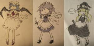 Remilia, Sakuya, and Marisa