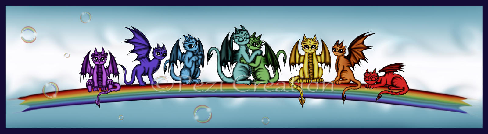 Rainbow Dragons by PeziCreation