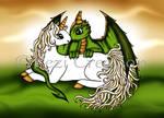 Unicorn Dragon Kiss by PeziCreation