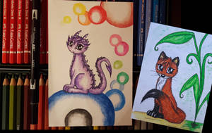 Dragon and Fox with colorpencil
