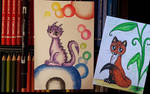Dragon and Fox with colorpencil by PeziCreation
