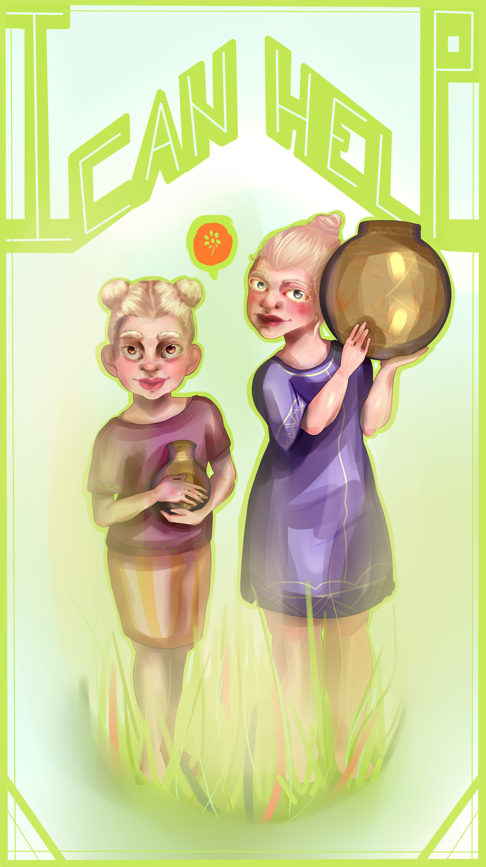 Apple Green and Dark Peach