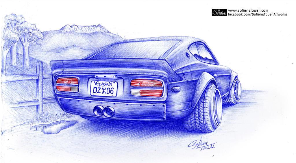 Datsun 240z Ballpoint Drawing by SofianeTOUATI