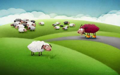 Sheep by sea-weed