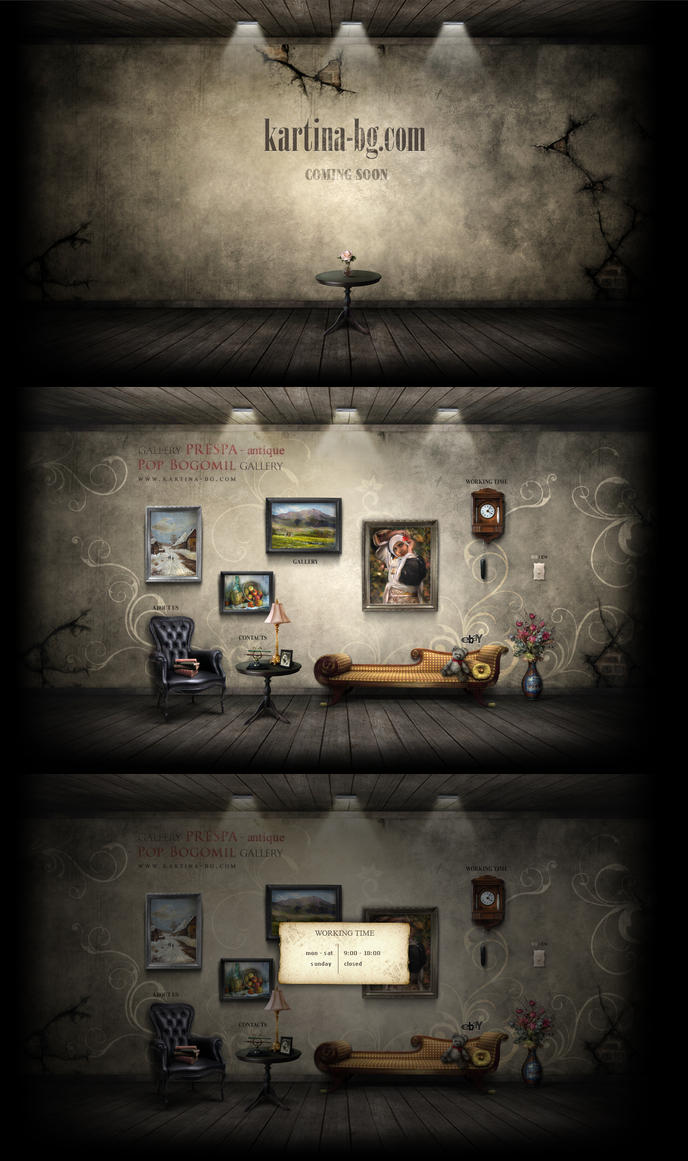 Art gallery and antique shop by sea-weed