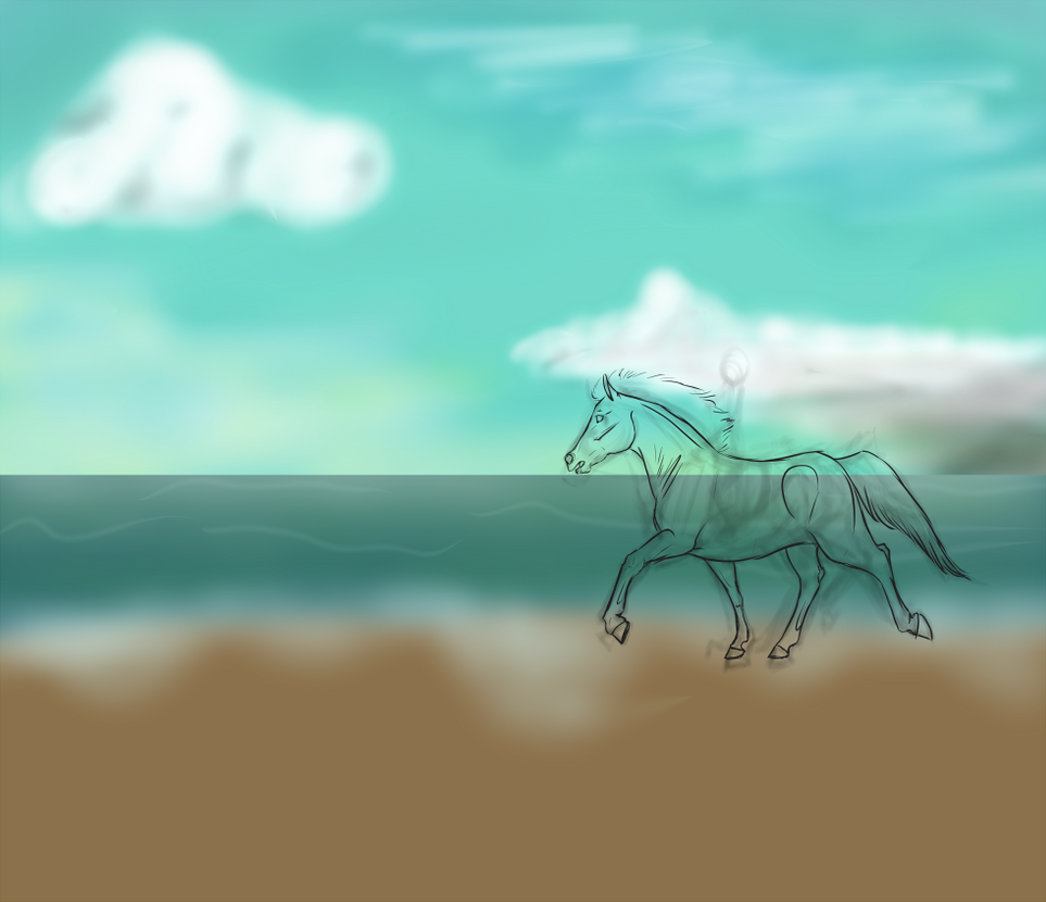 Horse on Beach Sketch Resize by sparkpaw