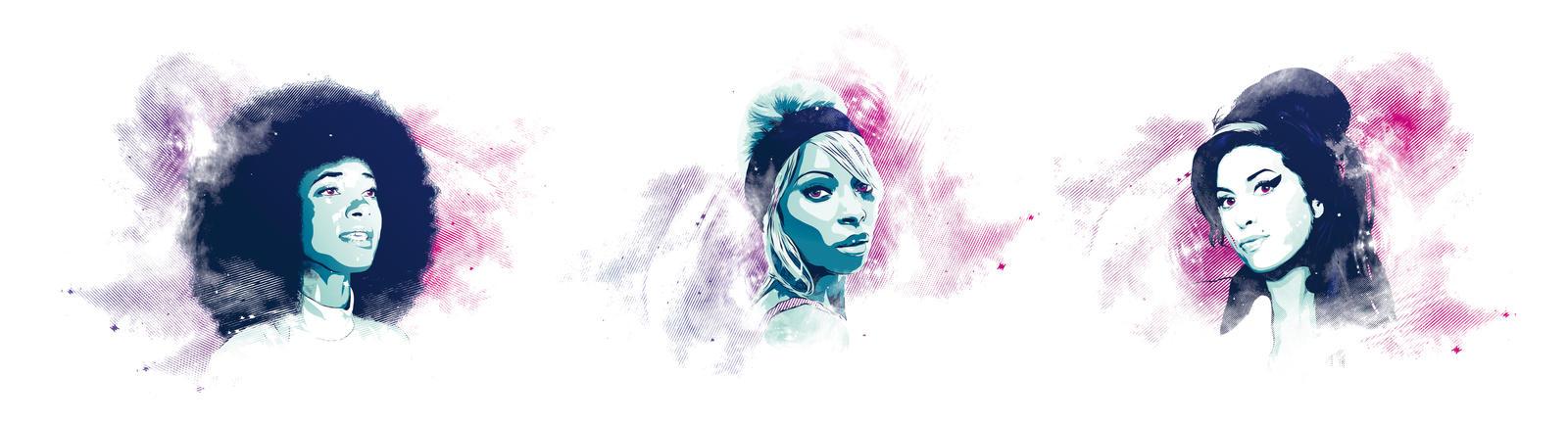 Esperanza Mary J Amy - Vector triptych by Psycool