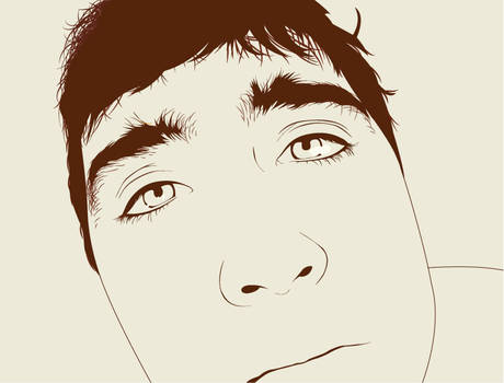 looking close. - line art