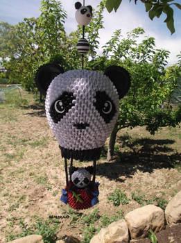 A panda flying?
