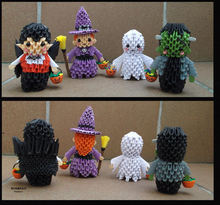 3d origami trick or treat by sombra33 on deviantart