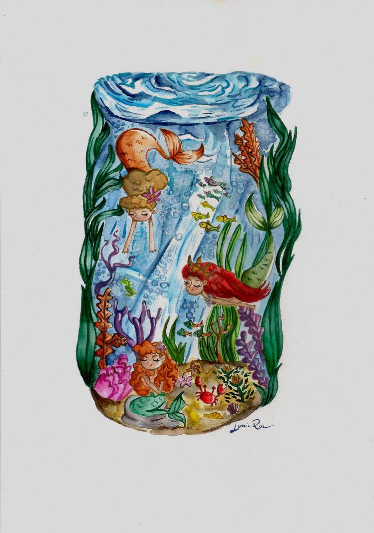 Mermaids - Watercolor by Louise-Rosa