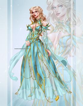 [CLOSED OUTFIT AUCTION] : Aquamarine golden dress
