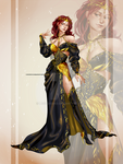 [CLOSED OUTFIT AUCTION] : Gold/ black royal dress by Heisedebao