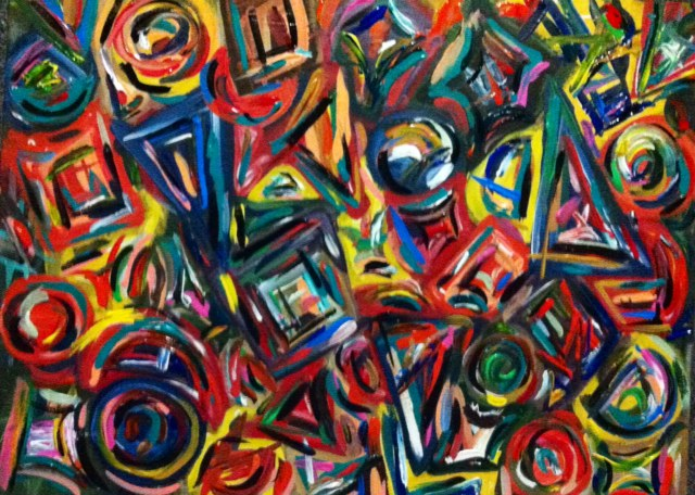 Original Abstract Acrylic Painting Shapes