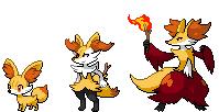 Fennekin, Braixen and Delphox sprites by Pumpkabooz