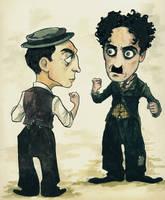 Chaplin vs Keaton by damianblake