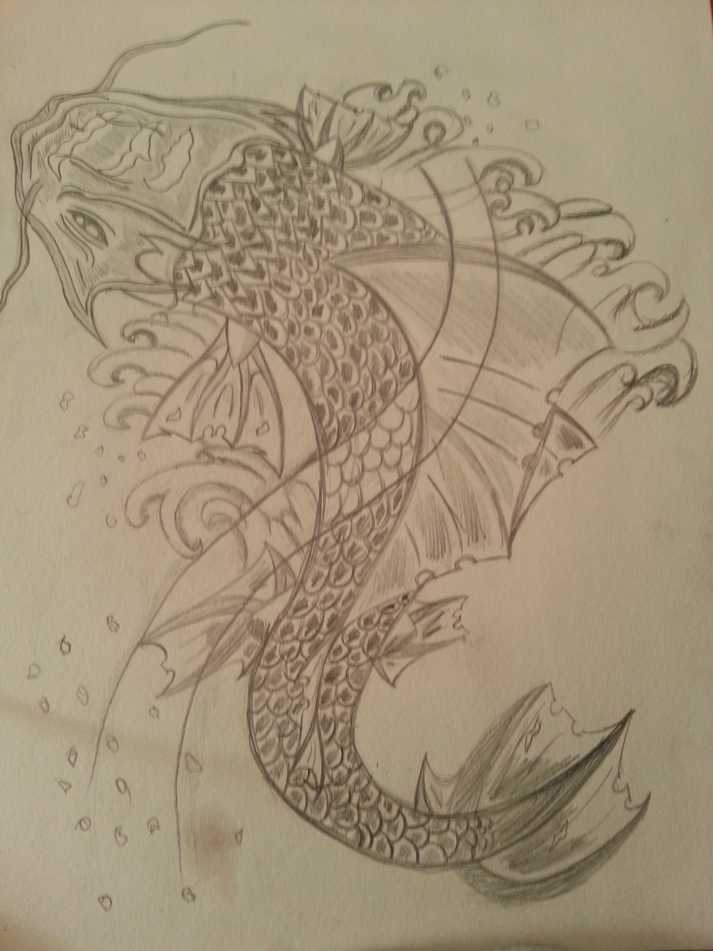 Koi fish sketch n 2 by flaviudraghis on deviantart for Koi fish sketch