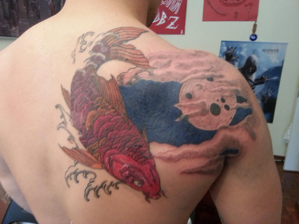 Third session of the koy fish tattoo by flaviudraghis