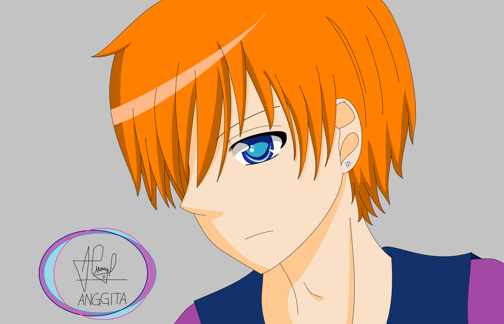 anime boy orange hair by anggitaputri on deviantart