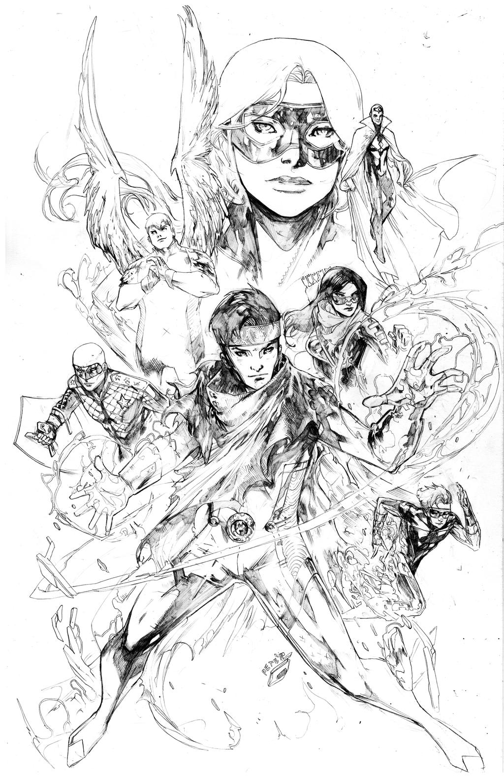 Young avengers pencils. by Peter-v-Nguyen