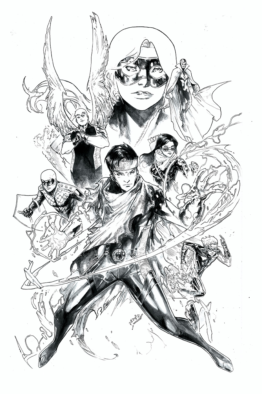 Young Avengers Black and white