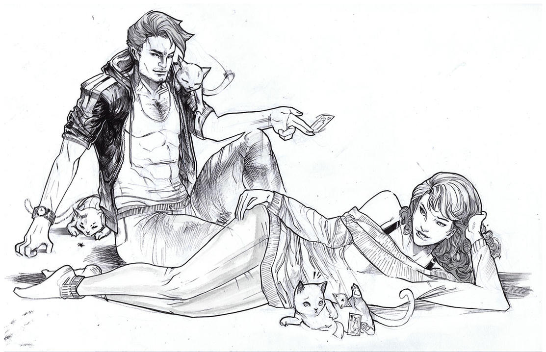 Remy and rogue meeting his cats for the first time by Peter-v-Nguyen