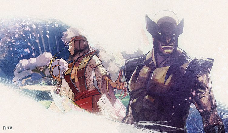 lady deathstrike and  wolverine by Peter-v-Nguyen