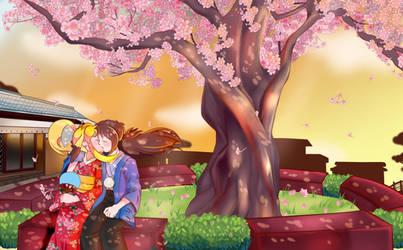 Capcom OCs: Saito and Xiaomu Under a Cherry Tree by ElizaVDraws