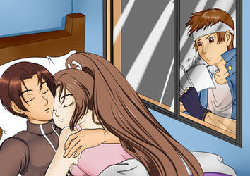 King of Fighters: Shingo spying Kyo and Mai by ElizaVDraws