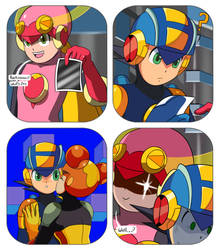 Megaman Exe and Roll Exe in Whats this? by ElizaVDraws
