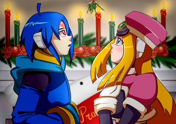 Megaman ZX: Thetis and Prairie Christmas by ElizaVDraws