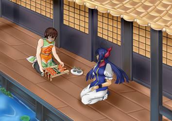 KOF - Bao inviting Hotaru some japanese snacks by ElizaVDraws