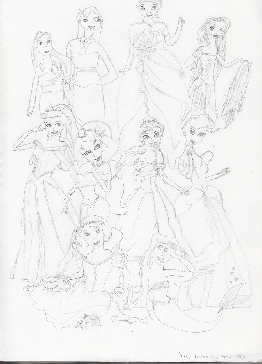 Disney Princesses drawing by moonlightxi00 on DeviantArt