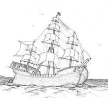 a sailing ship by alexvontolmacsy