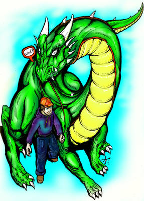 a boy and his dragon colored