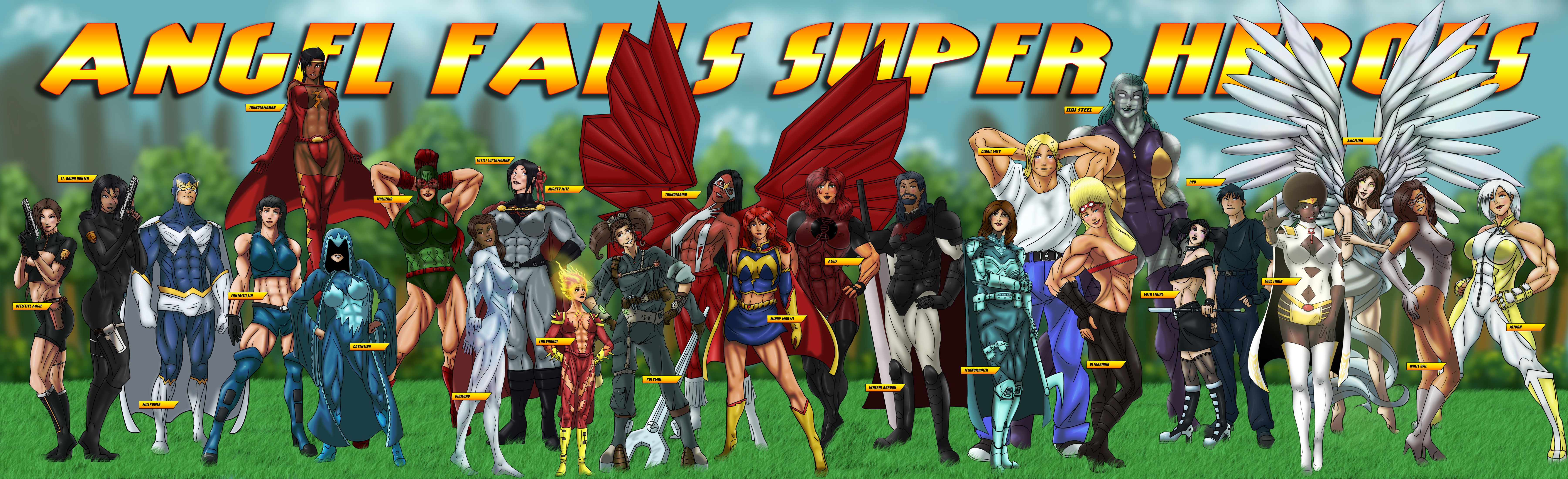Angel Falls Superhero Roster by Sean-Loco-ODonnell