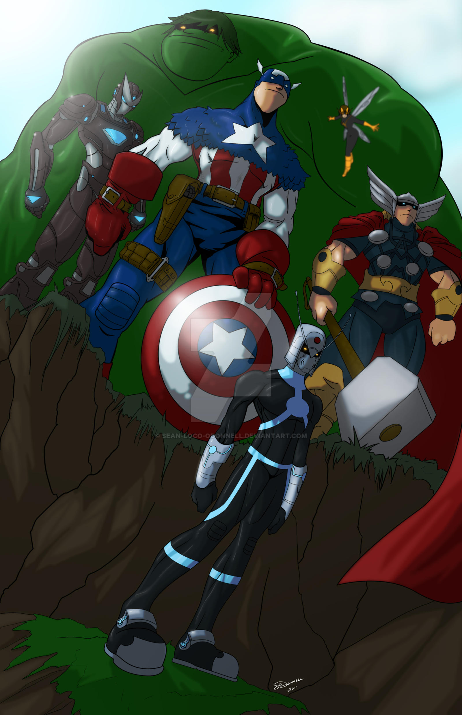 QuickSketch 11 Avengers Roster by Sean-Loco-ODonnell