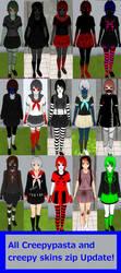 All Creepypasta / creepy skins ZIP Update by TeleviCat
