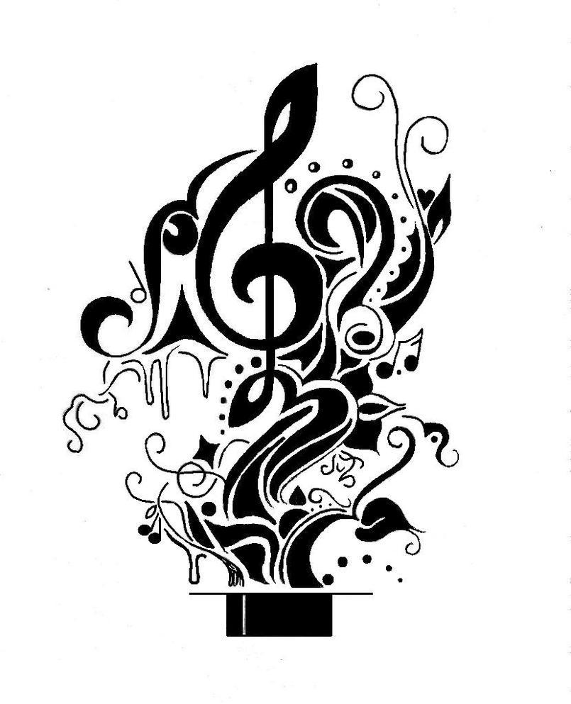 Music Tattoo Sketch Music Tattoo by Farfallaloduca