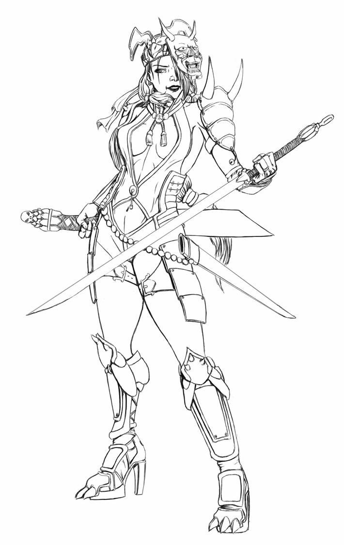 woman samurai demonheadhunter by rielconcepts on deviantart